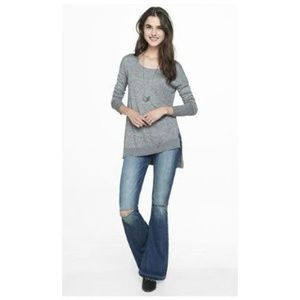 EXPRESS Gray Marled Asymmetrical Hem Tunic Sweater